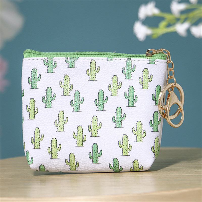 4YANG PVC Leather Coin Purses Storage Bags Women Small Cactus Print Handbag Lady Mini Zipper Pouch Key Holder Wallet Bag in Storage Bags from Home Garden