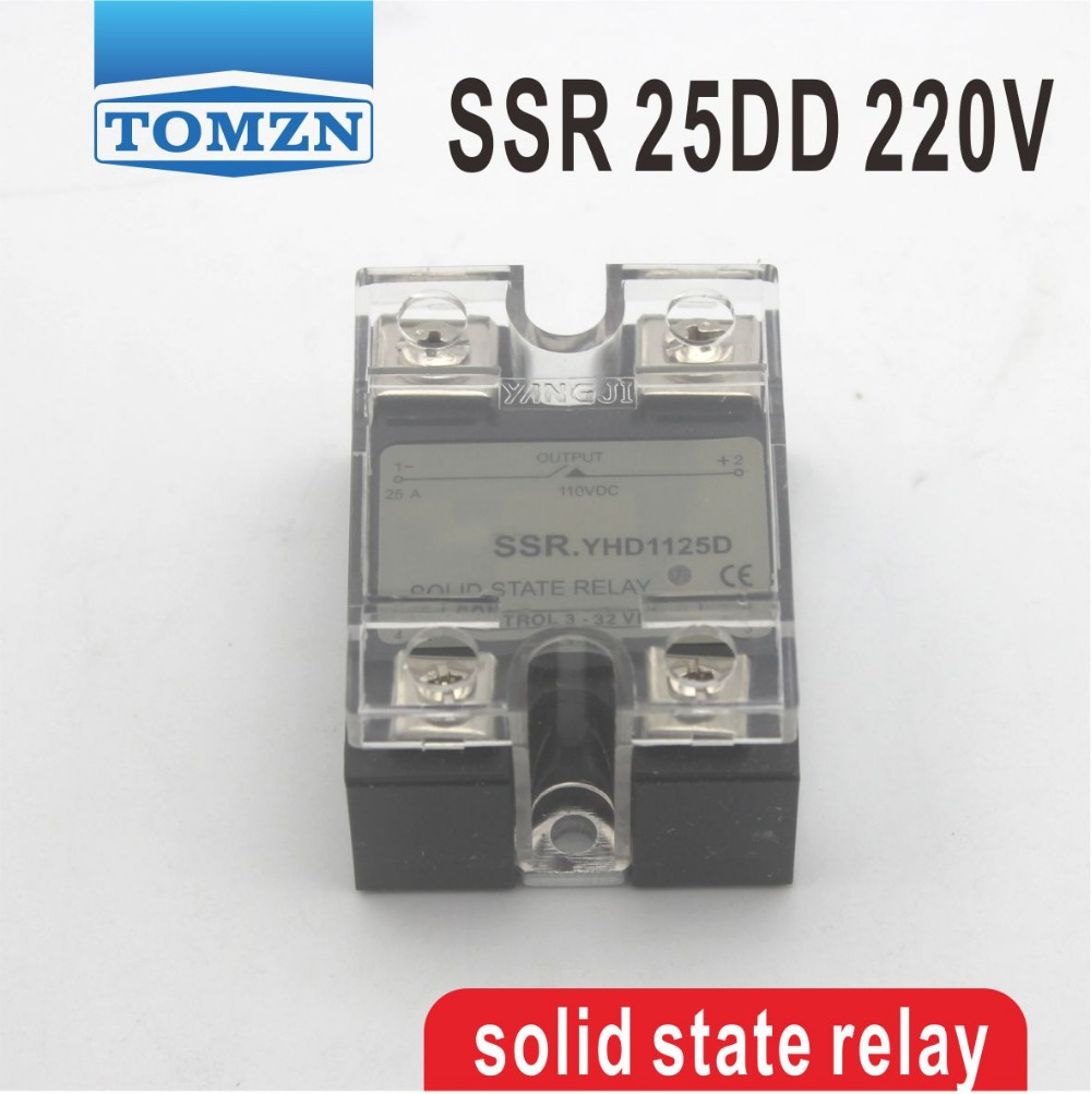 цена на 25DD SSR Control voltage 3~32VDC output 5~220VDC DC single phase solid state relay 25A YHD2225D