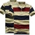 Polo hombres de la camisa 2015 de Polo Del Verano de los hombres Camisas De Polo A Rayas de Algodón para hombre marcas camisa de manga Corta Polo camisa Ocasional M/3XL