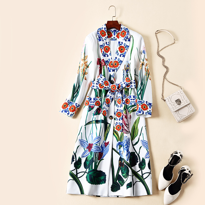 Women fashion high quality brand runway deigner   trench   coat porcelain floral print beading outerwear new 2019 spring