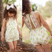 New Baby Girls Clothes Printed Overalls Toddlers Girls Lace Floral Jumpsuit Playsuit One-piece Romper Kids Clothes 2-7Y