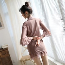 Sexy Womens Fashion Solid Comfy 3pcs Pajamas Sleepwear Lingerie Nightgowns Women Summer Lace sexy nightwear