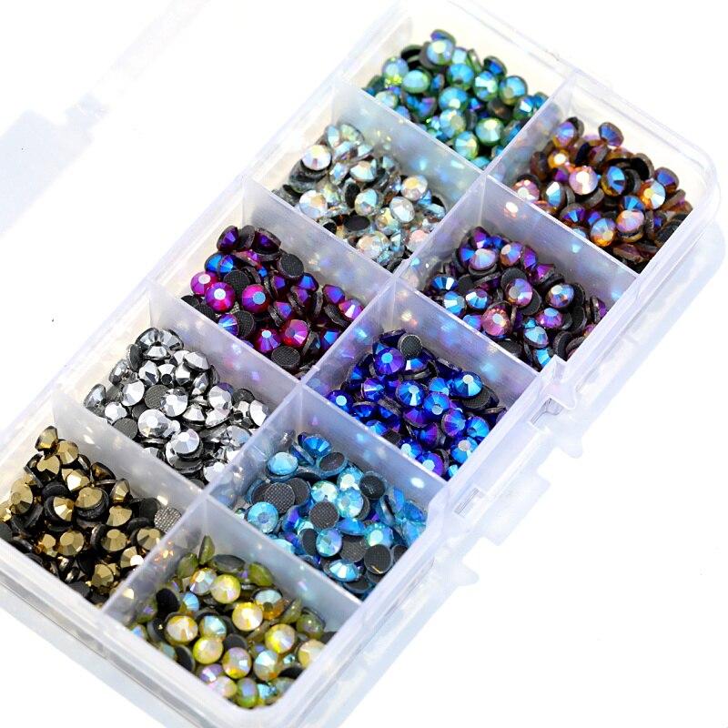 SS10 5000 pcs Misturar Cores AB Com Caixa de Cores DMC Hot Fix Pedrinhas Cristal Vidro Strss 10 Hotfix Strass Para vestuário Y3023