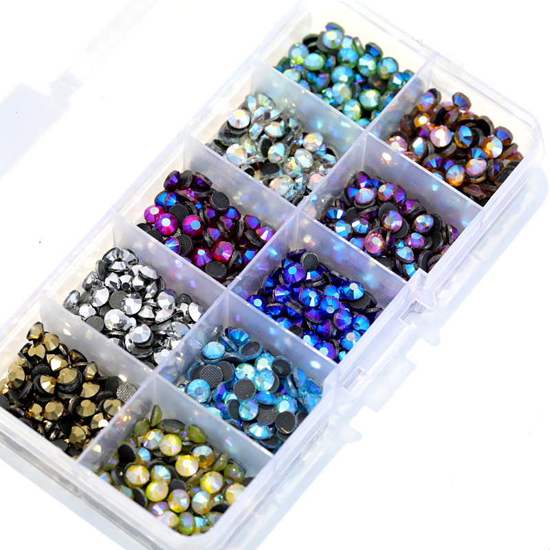 SS10 5000 piezas de colores de mezcla AB con caja de 10 colores DMC caliente arreglar diamantes de imitación de cristal de Strss de diamantes de imitación para de Y3023