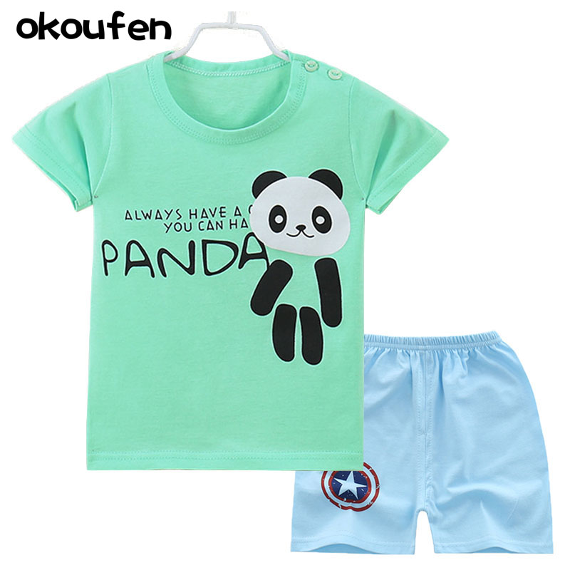 okoufen 2017 baby boy and girl body suit quality 100% cotton children t shirt summer cartoon kids clothing sets bobo choses