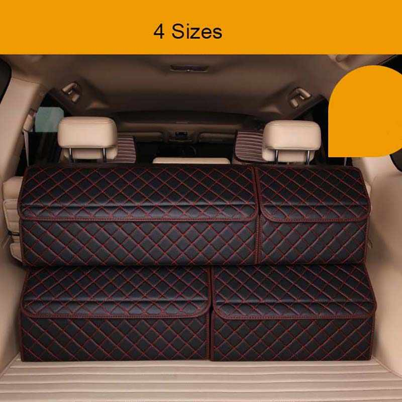 PU Leather Car Trunk Organizers Waterproof Back Folding Portable Storage Tool Bag Organiser Plaid Auto Collapsible Storage Box