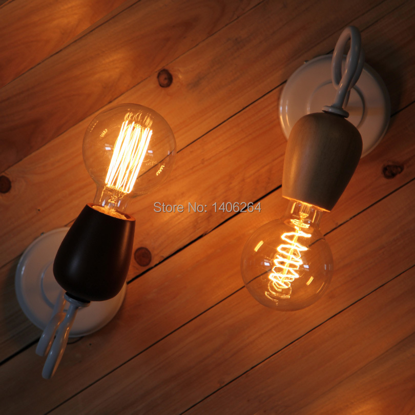 Simple Wood Edison Retro Art Bar Lamp Bedside Light Nordic Bedroom Creative Study Wall Lamp Cafe Club Hall Night Light Baby vintage industrial edison glass bottle wall lamp loft retro wall light bedroom aisle cafe bar store hall bedside hall lighting