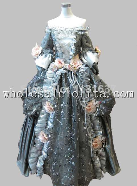 17 18th Century Gray Floral Marie Antoinette Off the Shoulder Baroque Rococo Halloween Costume Cosplay Costume Dress