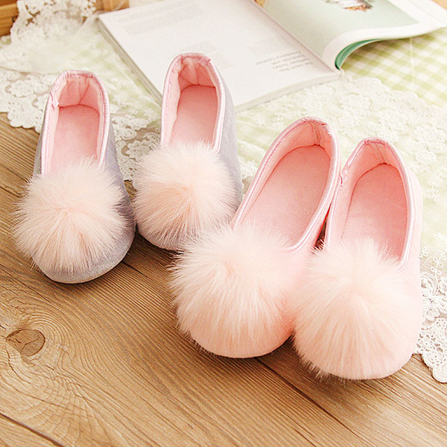 2017 Hot Sale Women Indoor Shoes Home Slippers Spring Autumn Warm Flannel Soft Sweet Slippers Comfortable Flats Pregnant Shoes45