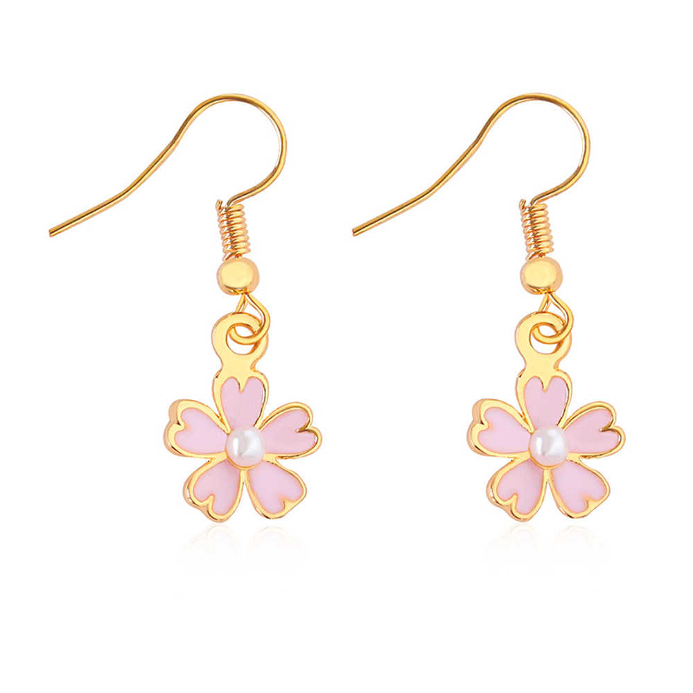 LASPERAL いとうピンクの花シリーズドロップ桜ジュエリー女性女の子ファッション合金クリスタルドロップイヤリングパーティー