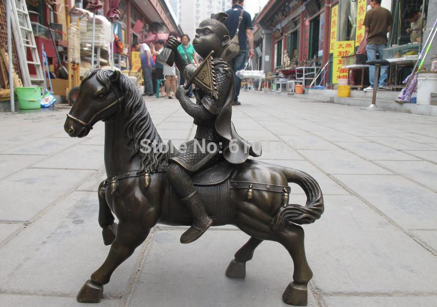 China Fable Pure Bronze Sun Wukong Monkey King Hand And Seal Ride Horse Statue