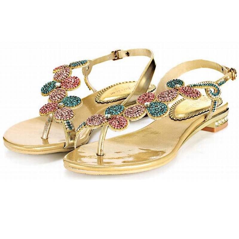 Большой размер 34-44 горячая 2016 Гладиатор сандалии для женщины лето Богемия бисера горный хрусталь цветок плоские каблуки вьетнамки обувь сандалии