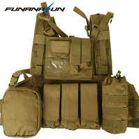Tactical Painball Molle Combat Vest With Magazine Pouch Led Flashlight Bottle Pouch Hunting Airsoft Swat Vest