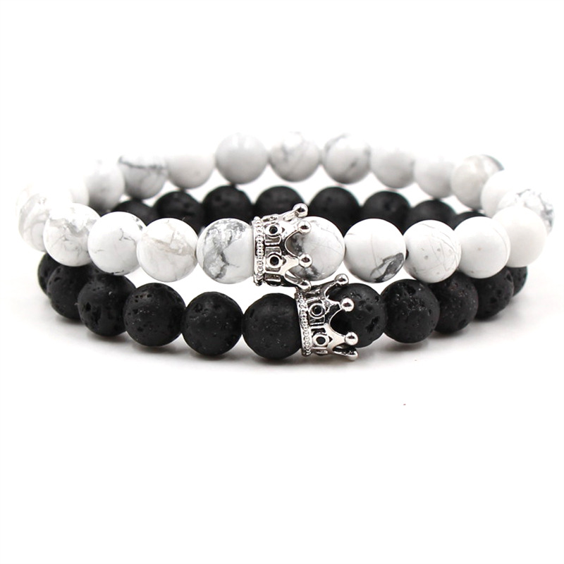 Promotion Trendy Black White Stone Beads Golden Silver Crown Bracelet Elastic Line For Women Men Couple Bangles Jewelry