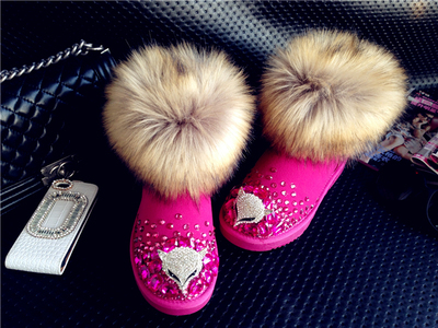 ФОТО European and American snow boots short boots handmade rhinestone imitation fox fur head warm winter boots snow boots can be