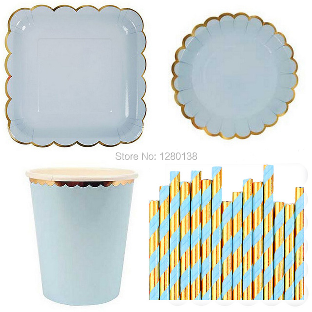 Mint Blue Yellow Pink Paper Cups Party Paper Plates Paper Straws Gold Tableware Wedding Shower Garden  sc 1 st  AliExpress.com & Mint Blue Yellow Pink Paper Cups Party Paper Plates Paper Straws ...