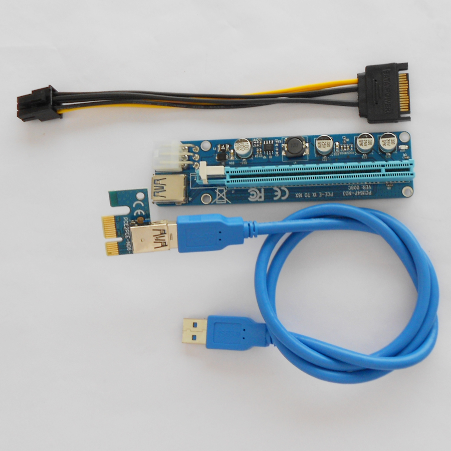 VER 008C PC PCIe PCI E PCI Express Riser Card 1x to 16x USB 3.0 Data ...