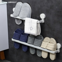 AIBOULLY Bathroom Storage Rack Shoe Wall Hanging Punch Free Living Room Household Shelves Organizer