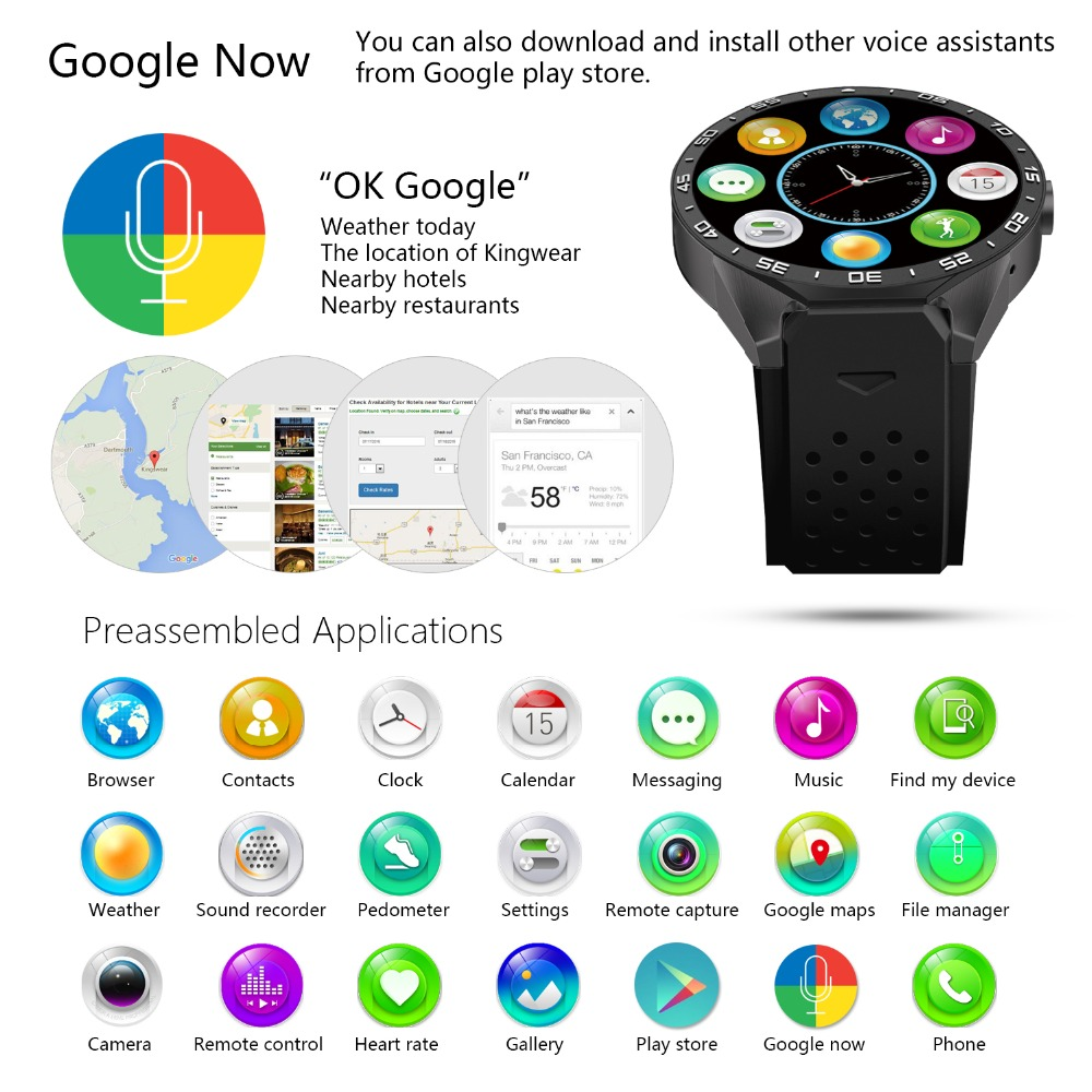 KW88 Smart Watches Android Smartwatch Heart Rate Monitor Watch Phone  Smartwatch Android GPS with 2MP Camera 2018 HOT SALE