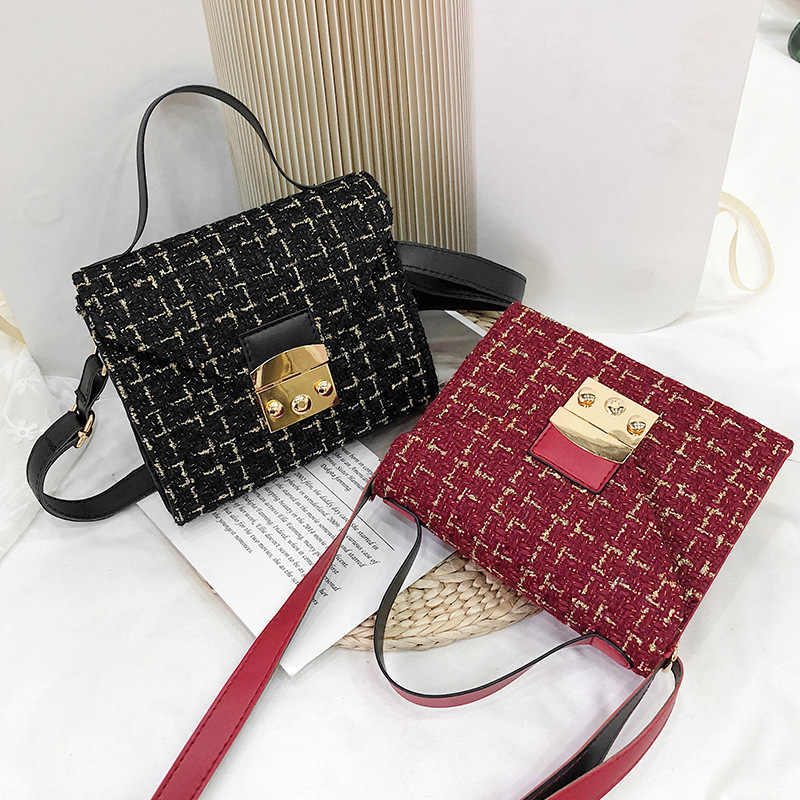 2019 chic tweed flap bag fashion designer golden thread plaid PU leather  shoulder bags for ladies 06b3f80cdc1b