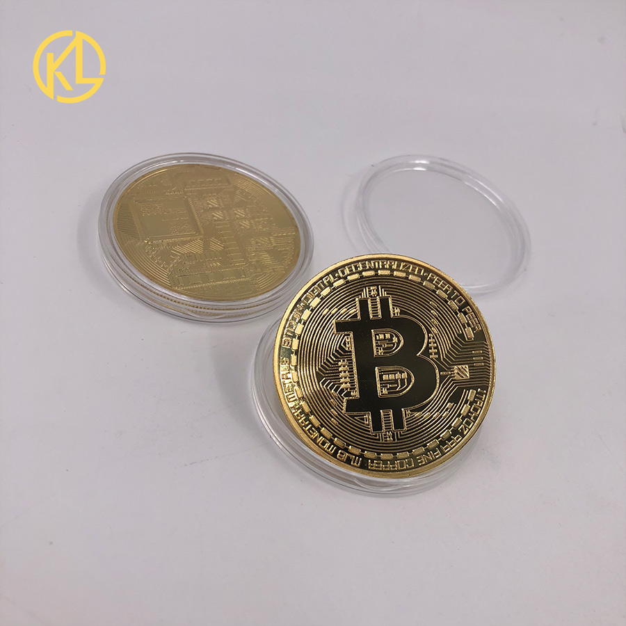 Gold Plated Physical Bitcoins Bit Coin BTC With Case And Nice Gift Box Physical Metal Antique Imitation BTC Coin Art Collection-1