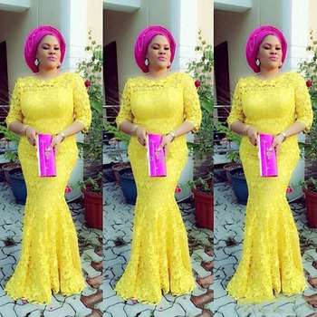 2019 Nigerian Evening Dresses Mermaid Half Sleeve Lace African Prom Gowns Yellow Elegant Full Lace Long Party Dresses for Women