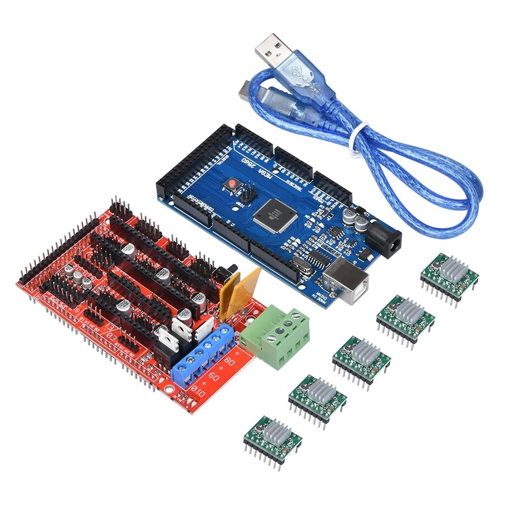 3d imprimante pièces kit 1 pc RAMPES 1.4 carte Contrôleur + 1 pc Mega 2560 R3 Reprap Mendel + 5 pcs A4988 Moteur pas à pas Pilote