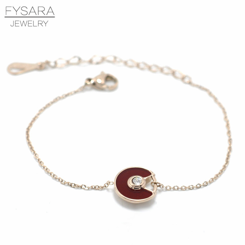 FYSARA Stainles Steel Black/White Shell Circle Saucer Charm Bracelet CZ Crystal Luxury Trendy Chain Link Bracelets For Women 7