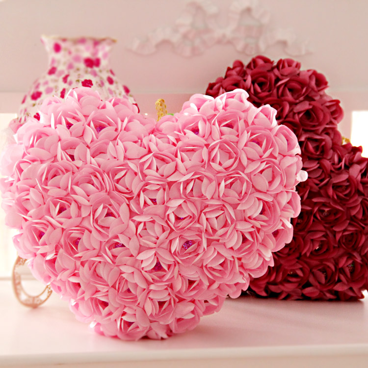 Roses Valentine S Day With Stuff Toys : Love three dimensional rose lovers heart pillow cushion