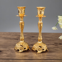 1 Pair Gold / Silver Color Wedding Gift Metal Candle Holders Candle Holder Diwali Decorations Candlestick Candle Holders 3DZT020