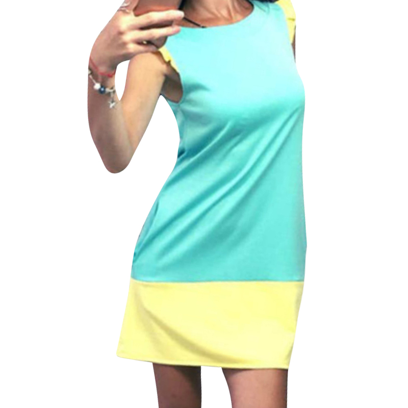Patchwork Women Colors Mini Dress Ruffle Pencil Casual Basic Dresses Summer Wear Clothes 2018 WS6897W
