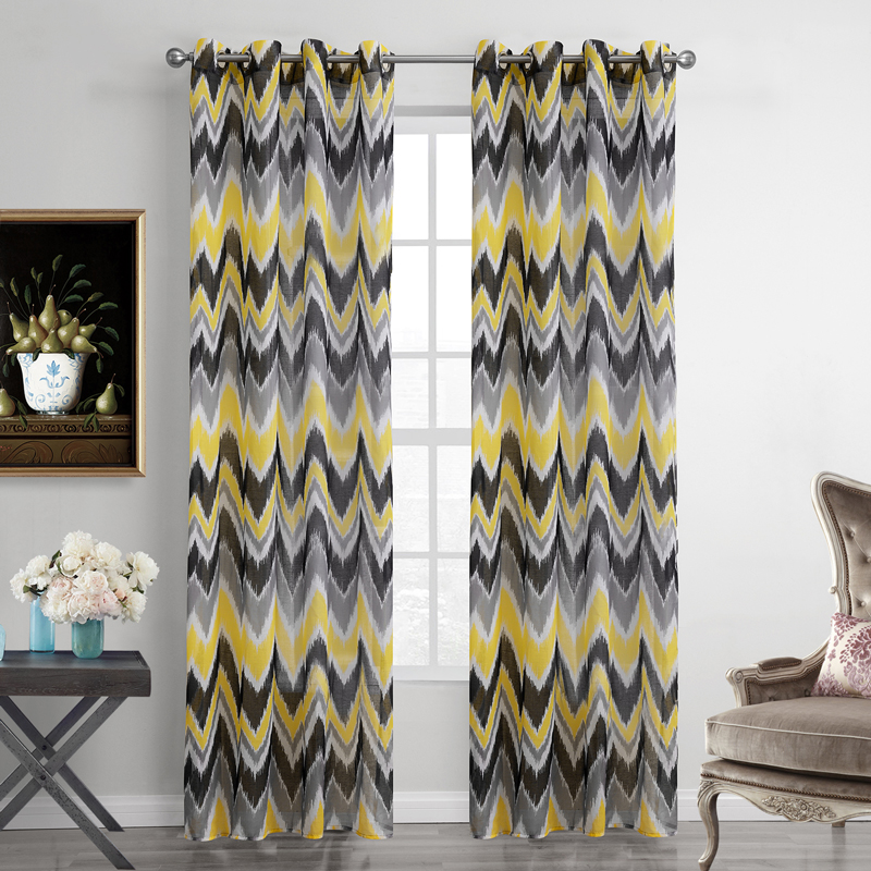 polyester curtaind for living room printed yellow striped voile curtains modern style sheer. Black Bedroom Furniture Sets. Home Design Ideas
