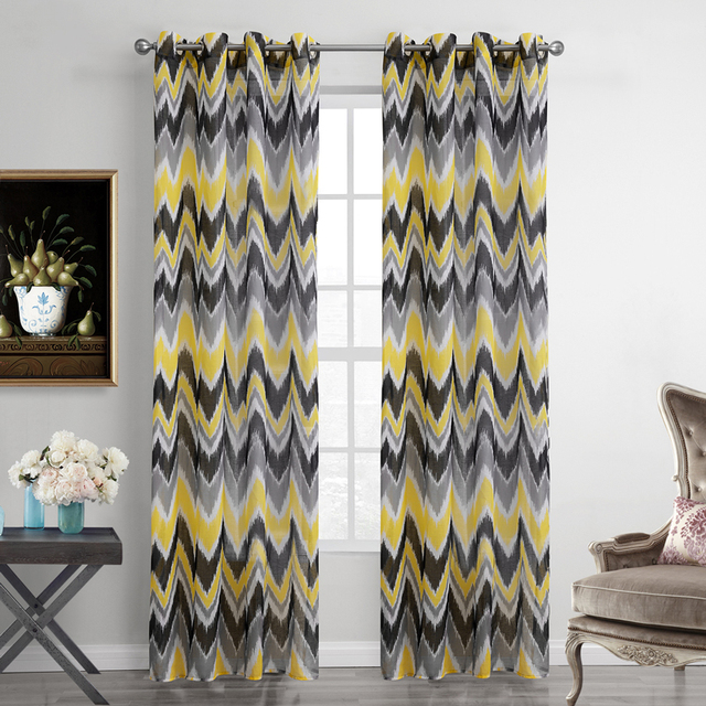 Polyester Curtaind For Living Room Printed Yellow Striped Voile Curtains  Modern Style Sheer Curtain For Flat Part 96