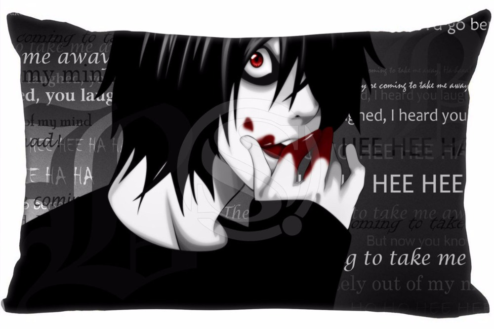 Hot Sale Death Note Pillowcase Custom Zippered Rectangle Pillow Cover Cases Size 40x60cm (Two sides) WT#905&E3