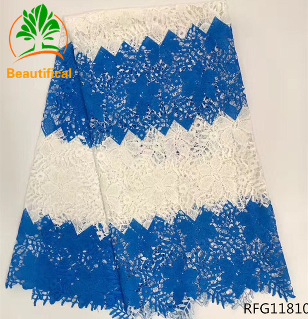 Beautifical african cord lace 2017 blue lace fabric high quality guipure lace nigerian lace fabrics for wedding dresses RFG118