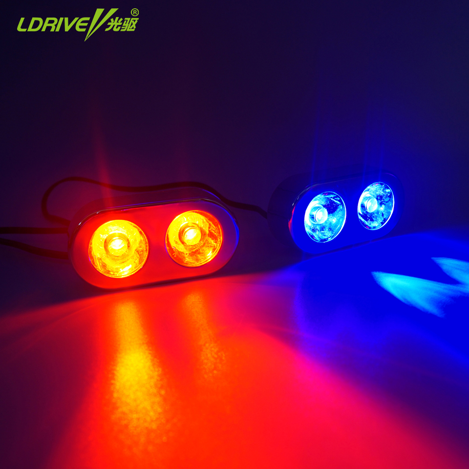 2Pcs/Lot 12V 3W Red Blue White 3 Flashing Modes Emergency Strobe Flashing Lights Car Led Strobe Light Bar Car Warning Light