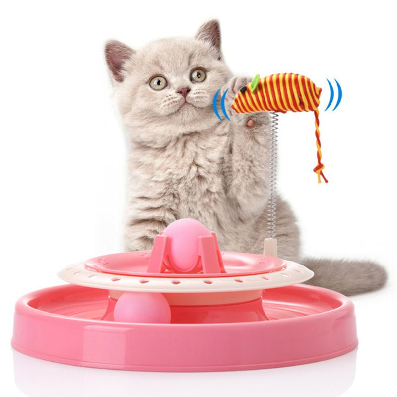 Spring Turntable Cat Training Toys Pet Toy Cat Crazy Ball Disk Interactive Amusement Plate Play Disc Mouse Cat Toys Cat Supplies