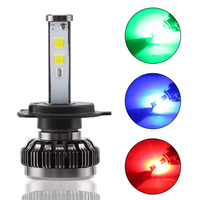2 Pieces H7 H4 Car RGB LED Headlight Kit Bulb With Bluetooth Phone Sound Sync Light