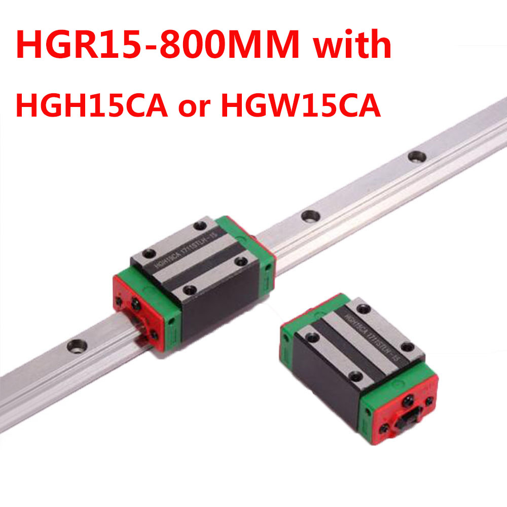 1PC HGR15 Linear Guide Width 15MM Length 800MM with 1PC HGH15CA or HGW15CA Slider for cnc xyz axis large format printer spare parts wit color mutoh lecai locor xenons block slider qeh20ca linear guide slider 1pc