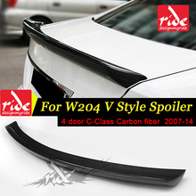 цена на W204 4-Door V Style High-quality Carbon Fiber Duckbill Trunk Lid Spoiler Rear Trunk Spoiler Wing for Benz C Class W204 2007-2014