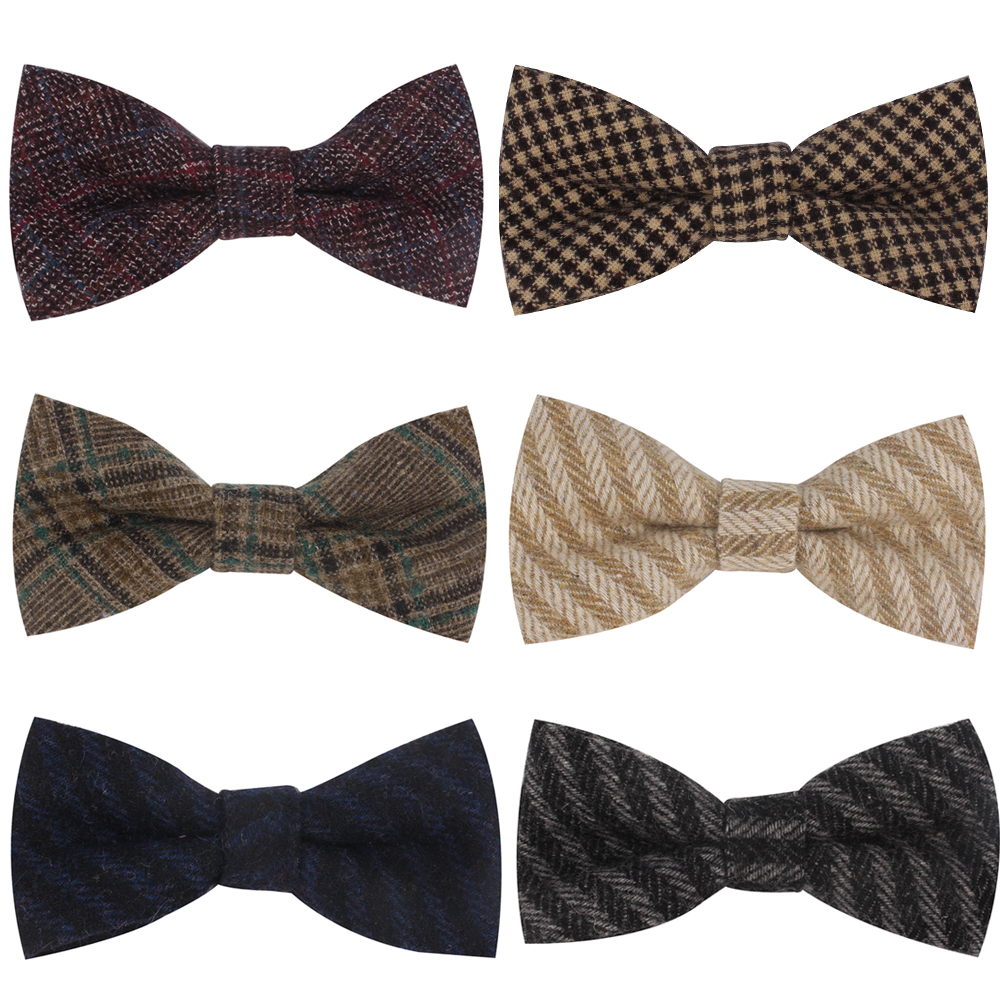 Wool Bow Ties For Men Cravats Fashion Adjustable Plaid Woolen Bowtie For Wedding Party Groom Butterfly Adult Casual Bowties