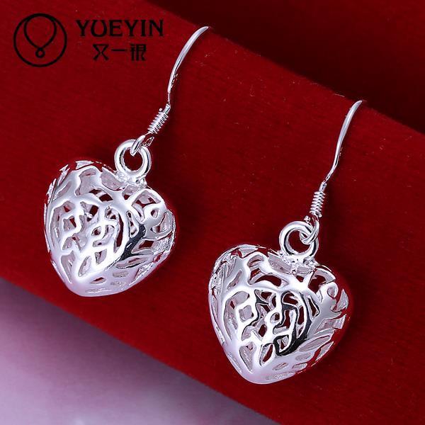 Wholesale silver plated Dangle earrings for women wedding jewelry Long Earrings oorbellen korvakorut heart