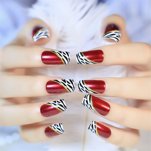 TKGOES High Quality 24pcs/set Wine Red Acrylic Full Fake False Nails ...