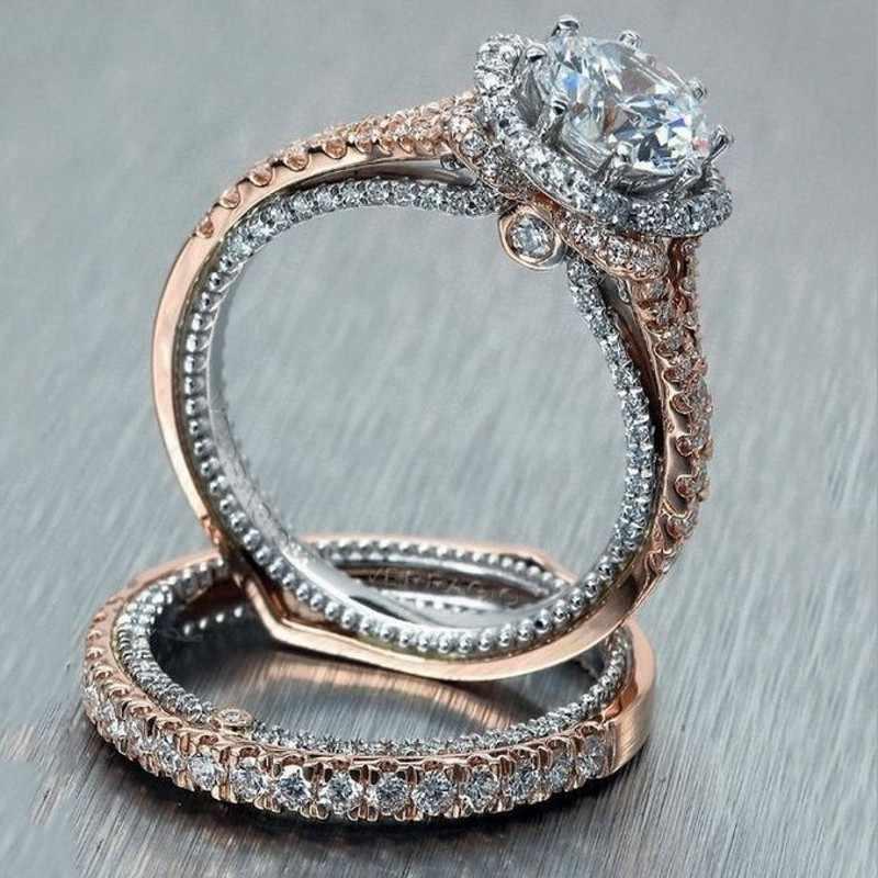ใหม่มาถึง Drop Shipping Choucong ยี่ห้อใหม่ Vintage 925 Silver & Rose Gold เติมรอบ 5A CZ งานแต่งงานเจ้าสาวชุดของขวัญ