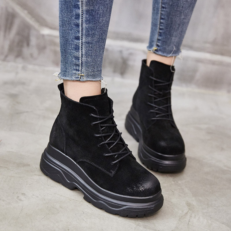 Women's Martin Boot 2018 Autumn Winter Thick Sole Warm Plush Winter Boots Ankle Boots For Women Genuine Leather Woman Shoes