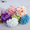20pcs Bouquet Hand Holding DIY Wedding Artificial Flowers Rose Bud Head Fake Roses Buquet Flowers For Wedding Home Decoration