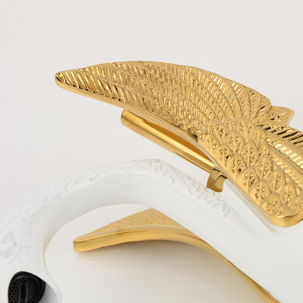 C faucet wholesale gold grilled white paint all copper basin faucet hot and cold faucet swan Counter Basin