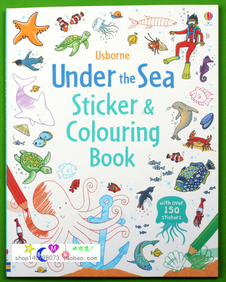Under the Sea coloring book antistress for children kids adult relieve stress painting drawing English Sticker Book 12 color pencils the colorful secret garden style coloring book for children adult relieve stress graffiti painting drawing book