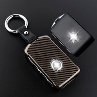1Set Zinc Alloy Leather Keychain Car Key Protecting Shell Key Covers Case Fob For 2018 Volvo