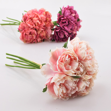 Artificial Flower Hydrangea 5 Heads Peony Bridal Bouquet Silk For wedding Valentines Day Party home DIY Decoration